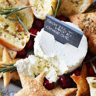 Holiday Herbed Pita Chips & a Festive Cheese Spread.