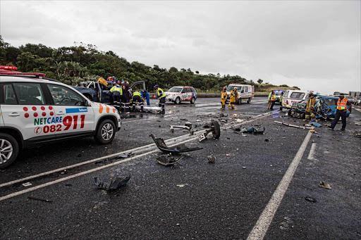 The remains of two vehicles that collided head-on on Good Friday on the R61 at the Shelly Beach off-ramp in KwaZulu-Natal. At least six people were killed.