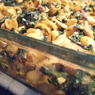 Whole Wheat Pasta with Chicken Sausage, Chickpeas, and Garlicky Greens.