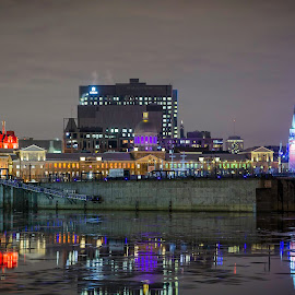 Old Montreal by Claude Desrosiers - City,  Street & Park  Historic Districts ( night, cityscape, winter, cold, lights )