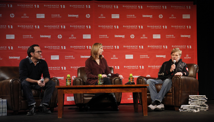Photo: JANUARY 19TH, 2012 - PARK CITY, UTAH - Press Conference for Day 1 of the Sundance Film Festival featuring Founder and President of Sundance Institute Robert Redford, Executive Director of Sundance Institute Keri Putnam, and Sundance Film Festival's Director John Cooper at The Egyptian Theatre.