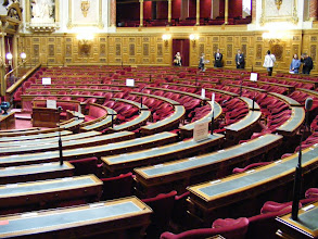 """Photo: The large hemicycle contains the seating for the 348 Senators, who are indirectly elected. That is, they are chosen, by 150,000 directly elected officials (""""grands électeurs""""), including regional councilors, department councilors, mayors, city councilors in large towns, and members of the National Assembly."""