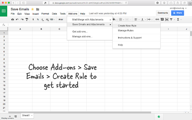 Save Emails and Attachments – Google Sheets add-on