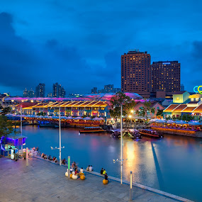 The Clarke Quay by Binoy Uthup - City,  Street & Park  Markets & Shops ( cityscapes, digital blending, hdr, night lights, night scene, blue hour, night city, cityscape, hdr photography, singapore, city, nightscape, urban, night view, night photography, blue, night life, clarke quay, city lights, night, night shot, city skyline, city street )
