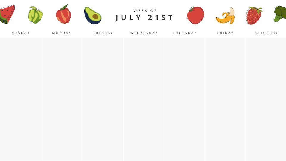 Fruits & Veggies Monthly - Calendar Template