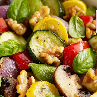 Roasted Vegetables with Walnuts, Basil and Balsamic Vinaigrette.