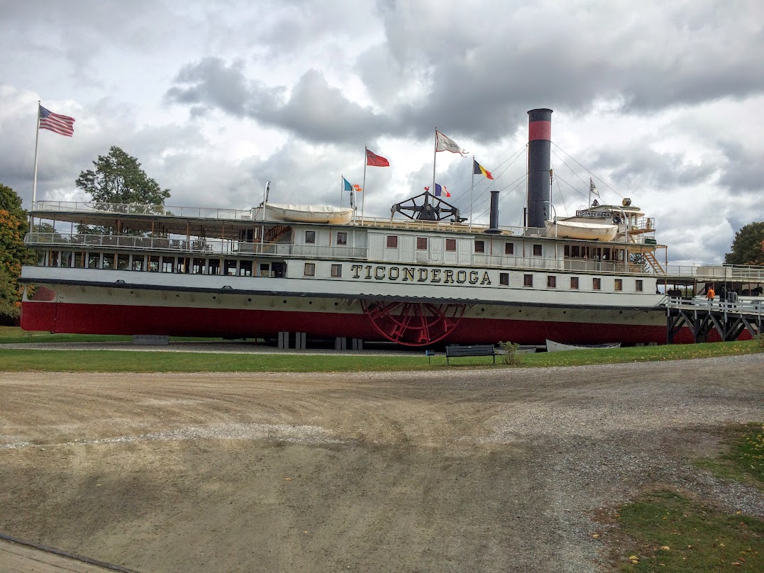 Yes, the 1906 Ticonderoga is dry docked here. Go to google and see what they had to do to get this thing here! It is a great display, and you get to check the whole thing out. This ship worked the lake for years and was retired in the 50's.