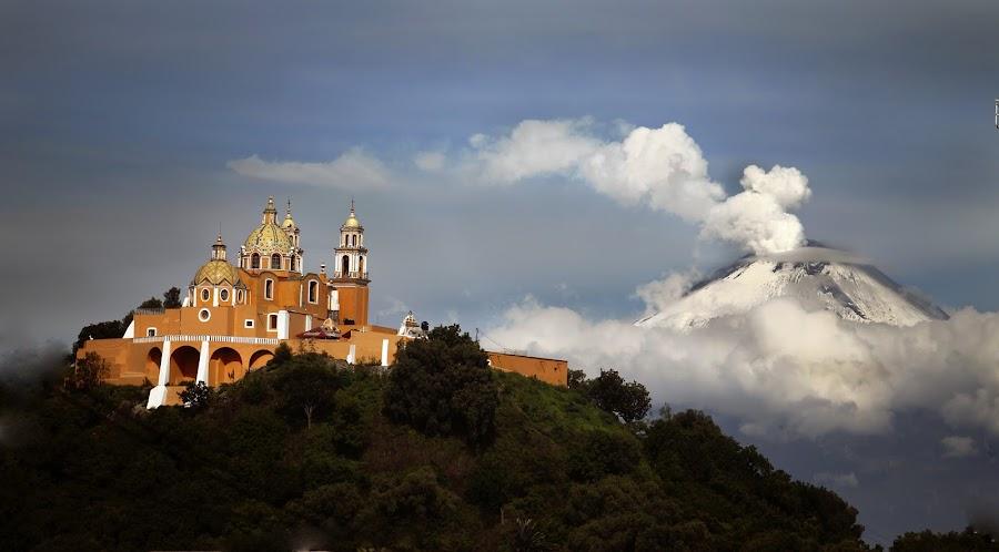 Church and Snowy Volcano by Alfredo Garciaferro Macchia - Landscapes Mountains & Hills ( clouds, church, mexico, puebla, popocatepetl, snowy volcano, smoking volcano )