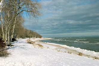 Photo: Cool lakefront scene with snow clinging to trees, clouds, and waves breaking.