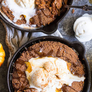 Paleo Pumpkin Snickerdoodle Skillet Cookie with Salted Caramel.