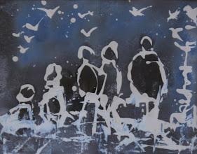 """Photo: """"Rapsodie"""". Bombe de peinture et acrylique, sur support papier. 24x29cm.Format horizontal."""
