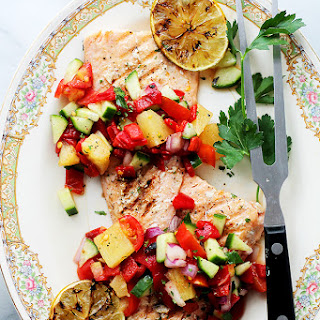 Grilled Salmon with Pineapple & Piquillo Peppers Salsa + GIVEAWAY