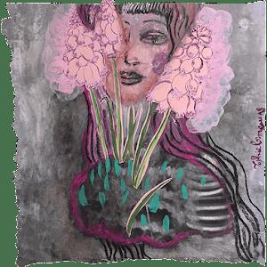 lady-woman-femme-serpent-refleurir-frange-oei-lily-portrait-face-visage-sophielormeau-lormeau-artiste-peinture-french-artist-art-tableau-paper-magazine-colorful-naif-naiv-contemporain-snake