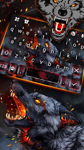 Flaming Wolf Keyboard Theme ss2