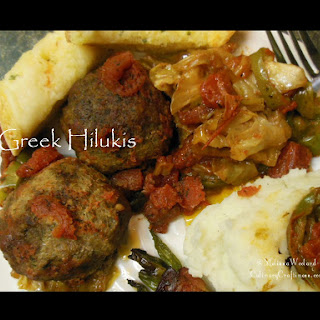 Greek Hilukis aka Oven Stewed Sausage & Ground Beef Meatballs.