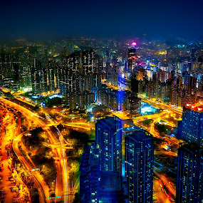 Magical City by Tien Sang Kok - City,  Street & Park  Night ( hong kong, urban, night, architecture, cityscape, light, city, nightscape )