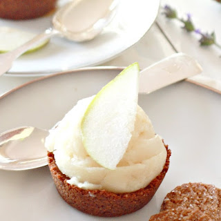 Pear Sorbet in Gingersnap Cups.