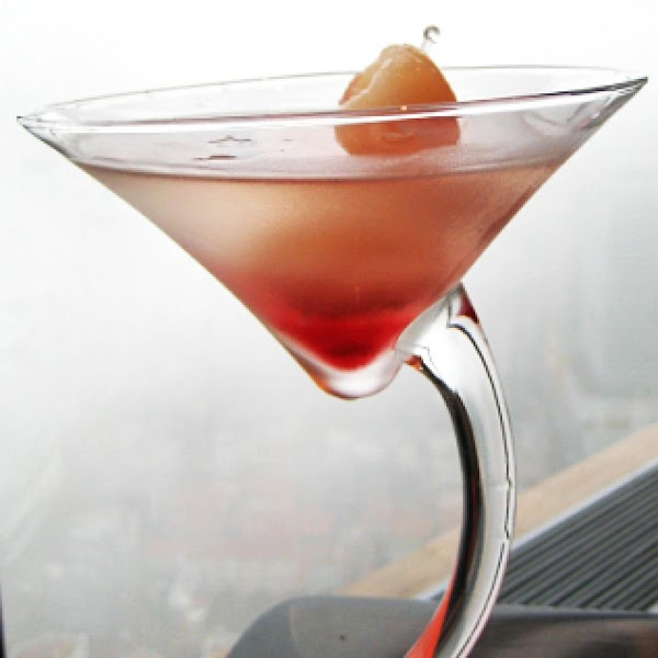 Next add Lychee Juice, Lychee liquor and Vodka and shake and pour into martini...