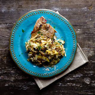 Pork Chops with Apple Cabbage Slaw.