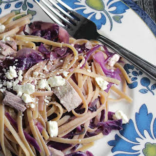 Leftover Turkey Linguine with Red Cabbage.