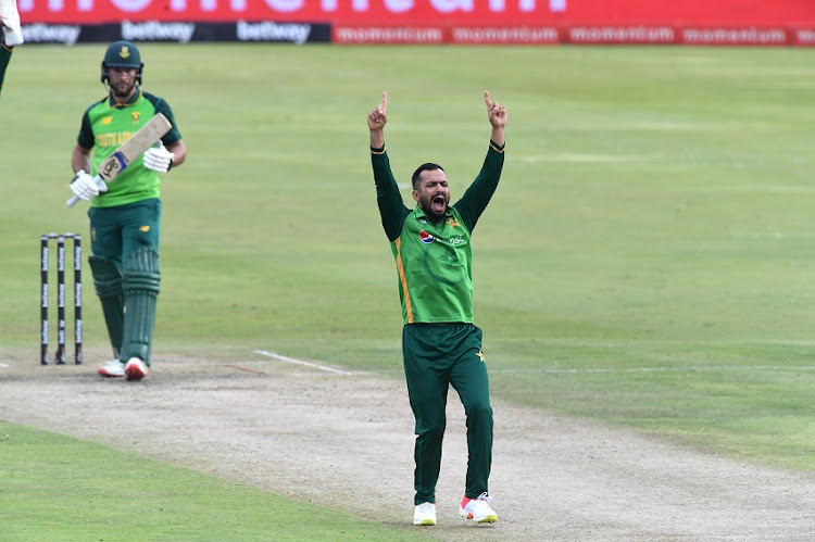 Mohammad Nawaz of Pakistan celebrates the wicket of Janneman Malan of the Proteas during the 3rd Betway ODI between South Africa and Pakistan at SuperSport Park on April 07, 2021 in Pretoria, South Africa.