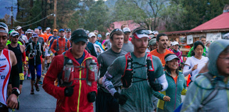 Photo: Start of 50 km race, at the Los Alamos Posse Shack; Jemez Mountains Trail Run, May 2014