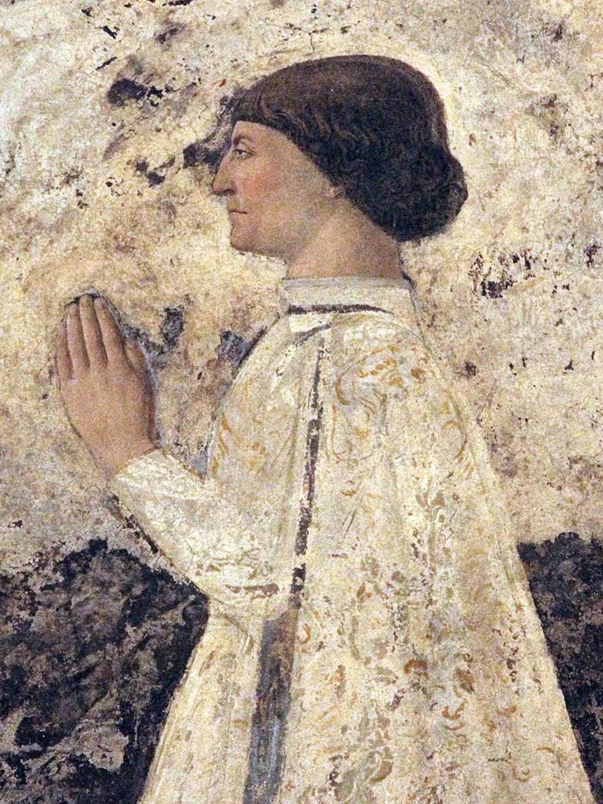 Piero della Francesca, Sigismondo Pandolfo Malatesta in preghiera davanti a san Sigismondo, 1451, particolare Sigismondo Pandolfo Malatesta in preghiera, Tempio Malatestiano, Rimini