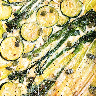 Spring Tart with Ricotta, Leek, Spouting Broccoli and Courgette.