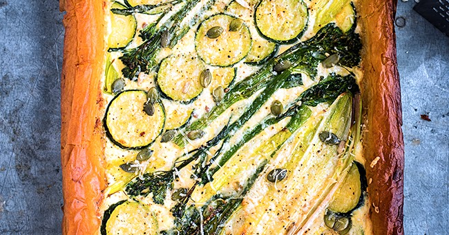 Spring Tart with Ricotta, Leek, Spouting Broccoli and Courgette Recipe ...