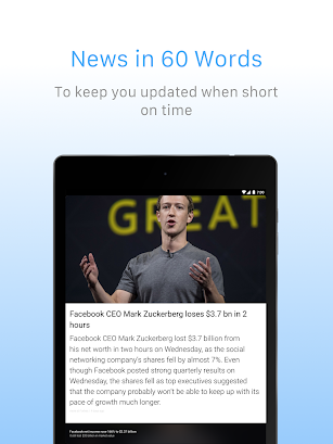 Inshorts - 60 words News summary screenshot for Android