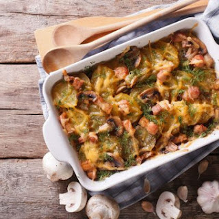 Mushroom Bacon Potato Gratin