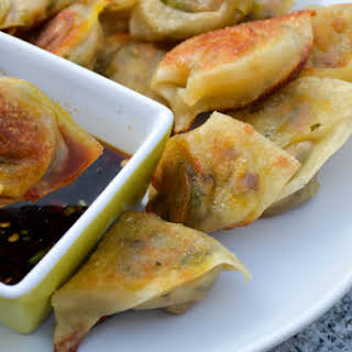 Vegetarian Wontons with Spicy Soy Dipping Sauce.