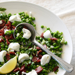 Sweet Pea Salad with Scallion, Bacon, and Lemon Cream Dressing