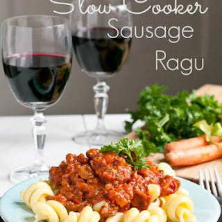 Slow Cooker Italian Sausage, Beef, and Vegetable Ragu.