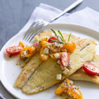 Cornmeal-Crusted Petrale with Tomato-Tarragon Relish Recipe