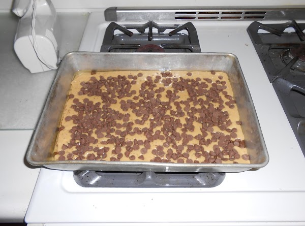 Sprinkle the chocolate chips over the top.   Bake for 30-35 minutes or until toothpick...