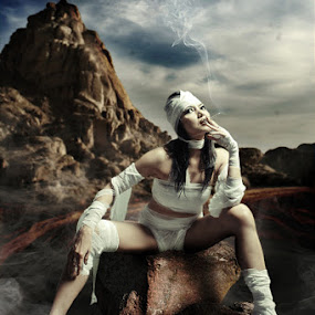smoking mummy by Budi Purwito - Digital Art People ( budibudz, desert, sky, smoking, cloud, compossed, mummy, storm, smoke )