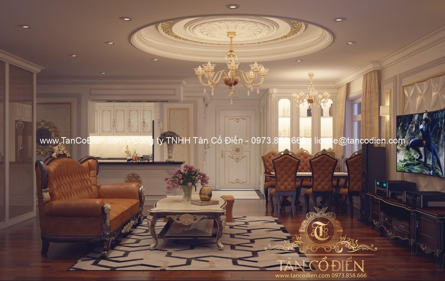Thiết kế phòng khách biệt thự cổ điển