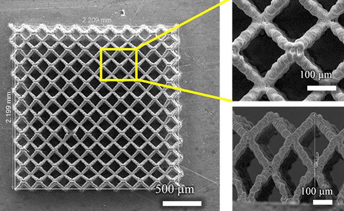 SEM-изображения трехмерных печатных электродов для литий-ионных батарей, используемых для электрохимического циклирования в исследовании исследователей. Изображение, взятое с вершины микрорешетных электродов высотой около 250 мм (Кредит: Рахул Панат и Мохаммад Садек Салех)