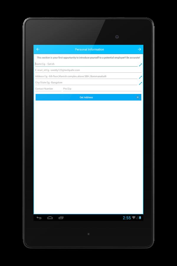 resume builder screenshot - E Resume Builder