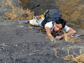 Photo: Ajit, coming up to the belay after P1 on the upper half of Duke's Nose, Lonavla, Maharashtra, India.