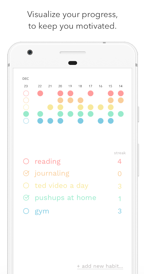 Onceaday - daily habit dots- screenshot
