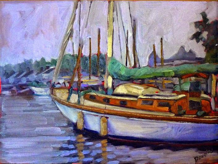 Photo: At Camden Harbor 12X16 oil on canvasboard