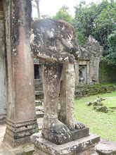 Photo: The headless guardian. The heads were lost during the Khmer rouge terror and war with Viet Nam.