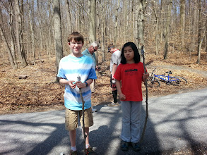 Photo: Our youngest volunteers and their duct taped walking sticks.