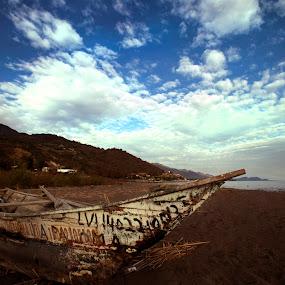 Beach adn boat by Cristobal Garciaferro Rubio - Transportation Boats ( water, clouds, sand, beach, boat )