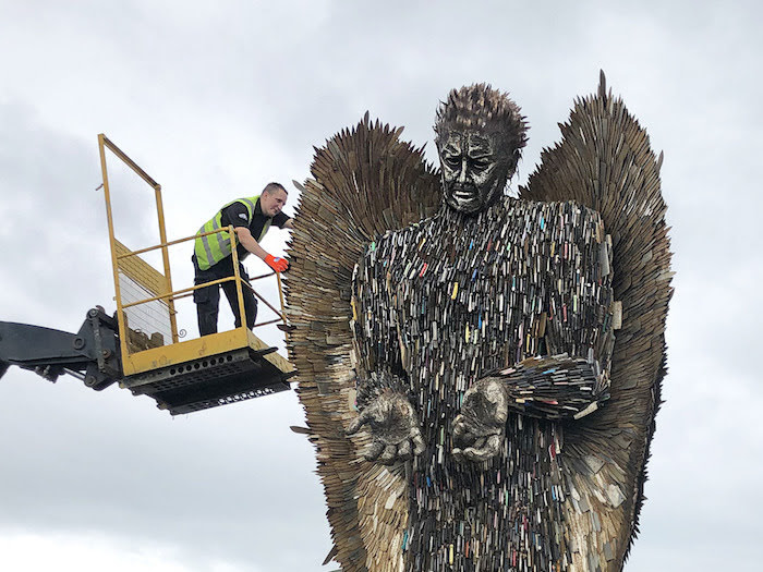 Preparations are underway for the arrival of 'Knife Angel'