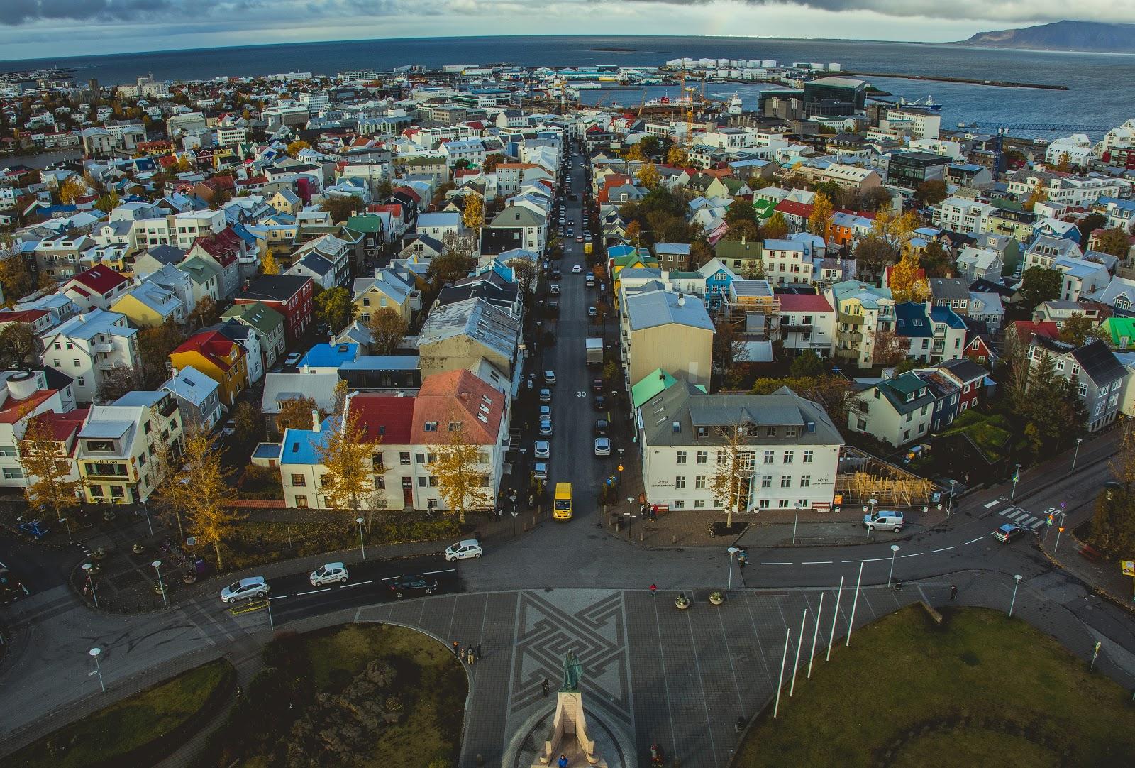 aerial view of reykjavik Iceland.
