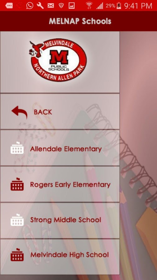 Mel-NAP School District App- screenshot