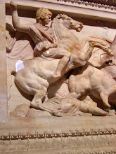 Photo: Alexander on the long side of sarcophagus from Sidon, late 4th century BC